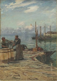 women sorting fish by colin hunter