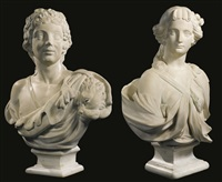 busts of a female figure with rose head dress and the young bacchus wearing a lion pelt (2 works) by continental school (19)