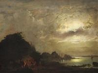 moonlight landscape by aleksandr vasil'evich gine