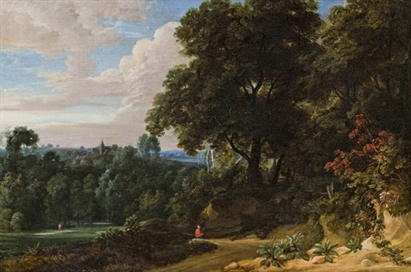 bewaldete hügelige landschaft mit einem rastenden reisenden und einer abtei im hintergrund by jacques d' arthois