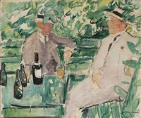 two men in a garden by arne kavli