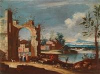 weite flusslandschaft mit ruinösem stadttor by francesco albotto