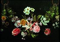 nature morte à la guirlande de fleurs by jan van den hoecke