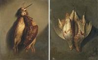 a brace of partridge (+ a brace of woodcock; pair) by john francis sartorius