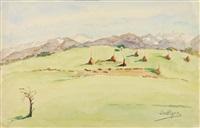 les meules (+ paysage enneigé, dauphiné, lrgr; 2 works) by louise marie peyre