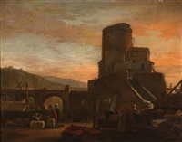 north african harbour scene at sunset by thomas wijck