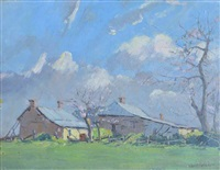 farm house with blossom trees by robert waden