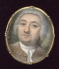 a gentleman, wearing a collarless brown coat, white shirt and cravat, his powdered wig held with black ribbon by peter paul lens