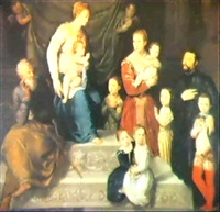 the virgin and child enthroned with saint joseph.... by antonio badile