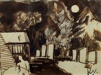 figure in a moonlit graveyard by keith vaughan