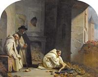 mönche mit kruzifix im verlassenen kloster by jean-léonard lugardon