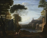 a classical landscape with figures and distant ruins by richard wilson