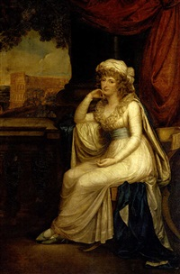 portrait of lady clifford, seated in a white dress with blue sash on a klismos chair on a loggia overlooking the colloseum by robert fagan