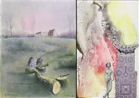 de boomzagers (+ spelen we nog wat in de tuin, watercolor and collage; 2 works) by paul louis boon