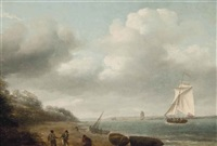 a cutter yacht running towards the harbour mouth at teignmouth by thomas luny