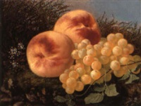 peaches and grapes on a mossy bank by françois lepage