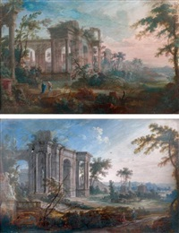 paysages de ruines romaines (pair) by pierre antoine patel
