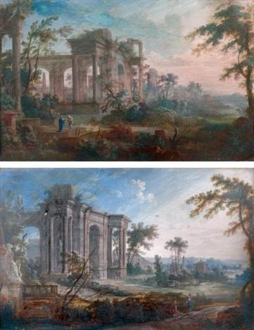 paysages de ruines romaines pair by pierre antoine patel