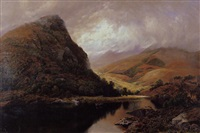 mountainous lake landscape by john richardson glover