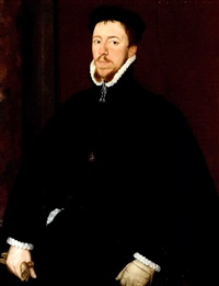portrait of thomas howard, 4th duke of norfolk in black velvet doublet and hose and a black velvet hat, with the order of the garter on a velvet cord around his neck by anglo-dutch school (16)