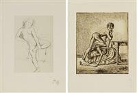 les écoliers (+ jeune fille; set of 2) by balthus