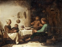 peasants and a satyr dining in an interior by benjamin gerritsz cuyp