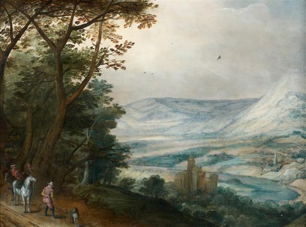 la halte des cavaliers devant un paysage panoramique by joos de momper the younger