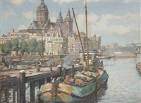 view of the prins hendrikkade, with the st. nicolaaskerk beyond, amsterdam by dirk johannes van haaren