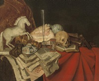 a conch shell, books and papers, a porcelain bowl, a maquette of a horse, a glass vase and skull on a partly-draped ledge by simon luttichuys
