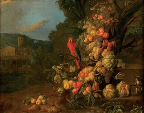 guirlande de fruits animée de perroquet, singe et écureuil dans un paysage classique by jan pauwel gillemans the elder