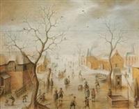 scène d'hiver (in 3 parts) by hendrick avercamp