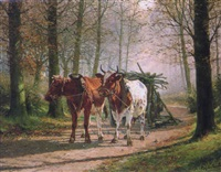 oxen hauling a cart by adolphe jacobs
