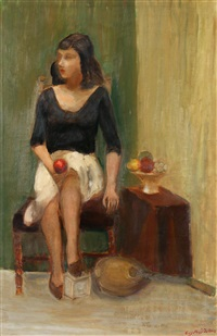 Young woman seated on a chair