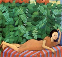 reclining figure on a striped sofa by louise scott