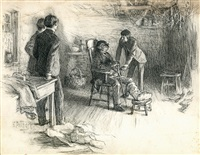elderly black man with injured foot, young men visiting (illus. for century magazine) by edward henry potthast
