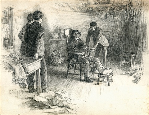 elderly black man with injured foot young men visiting illus for century magazine by edward henry potthast