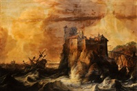navires pris dans la tempête by bonaventura peeters the elder