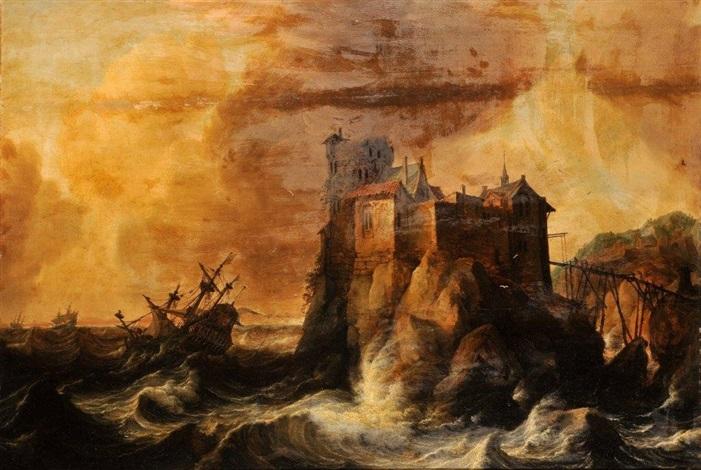 navires pris dans la tempête by bonaventura peeters the elder
