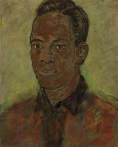 untitled portrait of a young man with a red shirt by beauford delaney