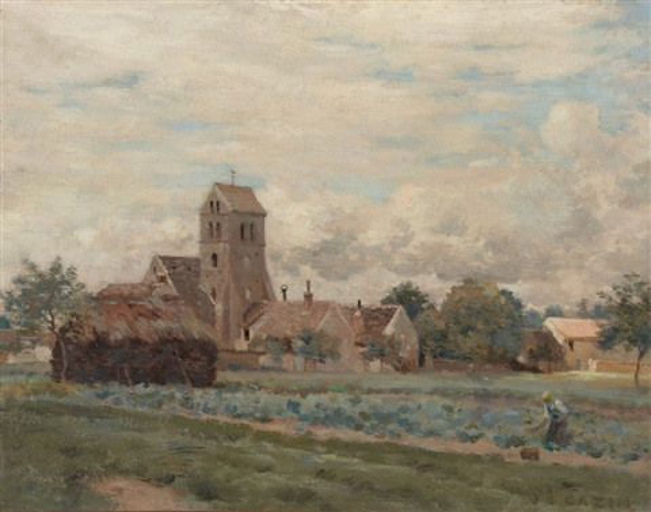 paysanne aux abords dun village by jean charles cazin