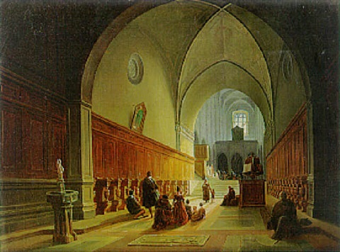 worshippers in a church aisle italy by jodocus sebastiaen van den abeele
