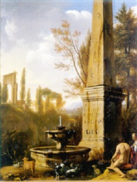 shepherds resting by a fountain and an obelisk in an arcadian landscape by gerrit van bronckhorst