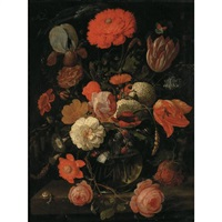 a still life of tulips, roses, blackberries and other flowers in a glass vase on a ledge with snails and various insects by hendrik schoock