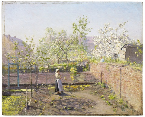 view from a monastery - cherries in bloom by ivan pavlovich pokhitonov