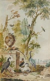 animaux de basse cour au pied d'un arbre by abraham van stry the elder