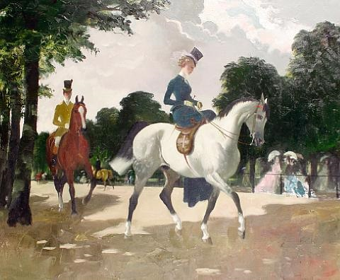 exercising in hyde park by doris clare zinkeisen