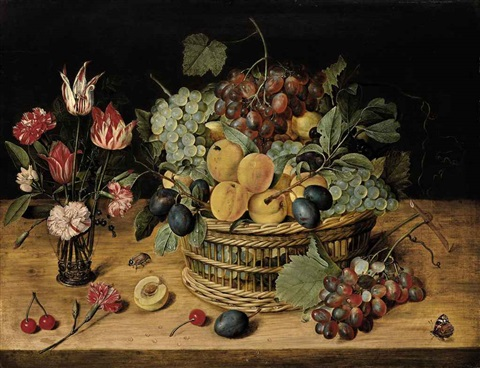 carnations tulips and other flowers in a glass vase with peaches grapes and plums in a basket on a ledge with cherries a butterfly and a beetle by isaac soreau