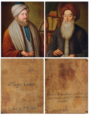 portrait de abraham ben raphael lonzano portrait de rabbi meir crescas pair by fw güte