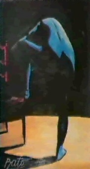 femme bleue a la chaise by bato