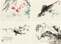 写生小品 (四幅) 镜片 设色纸本 (4 works) by jiang hanting